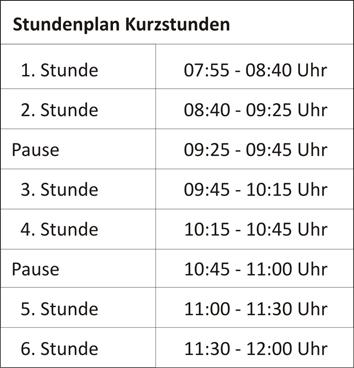 Stundenplan Kurzstunden