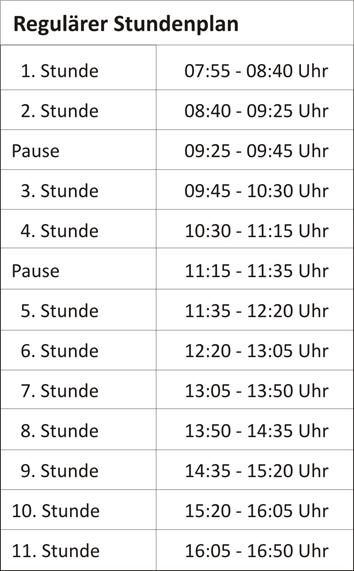regulärer Stundenplan